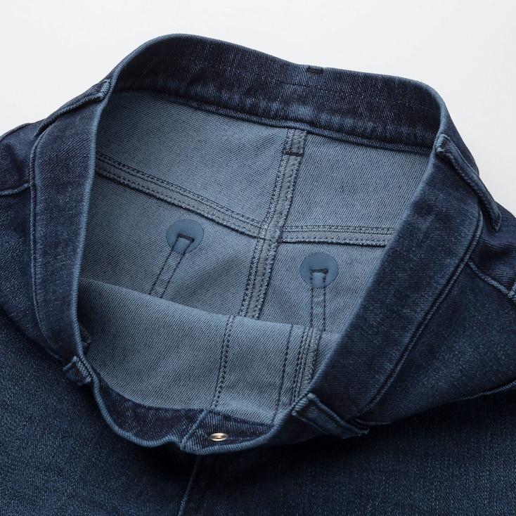 Women Ultra Stretch Denim Leggings Pants, Navy, Large