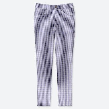 Women Ultra Stretch Print Cropped Leggings Pants, Blue, Medium