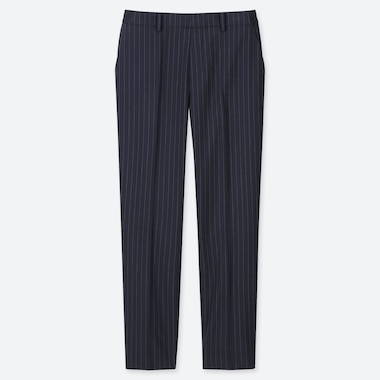 WOMEN EZY STRIPED ANKLE-LENGTH PANTS, NAVY, medium