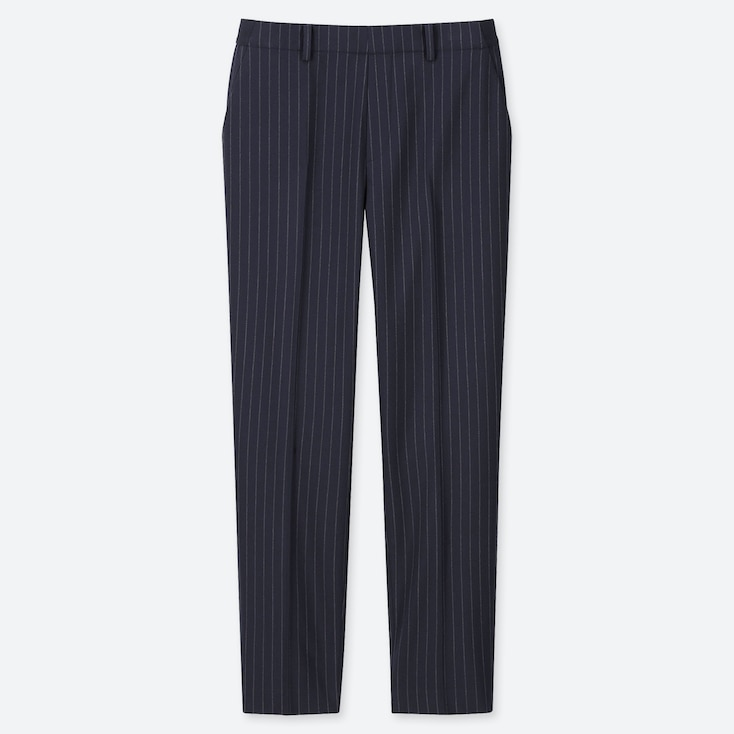 WOMEN EZY STRIPED ANKLE-LENGTH PANTS, NAVY, large