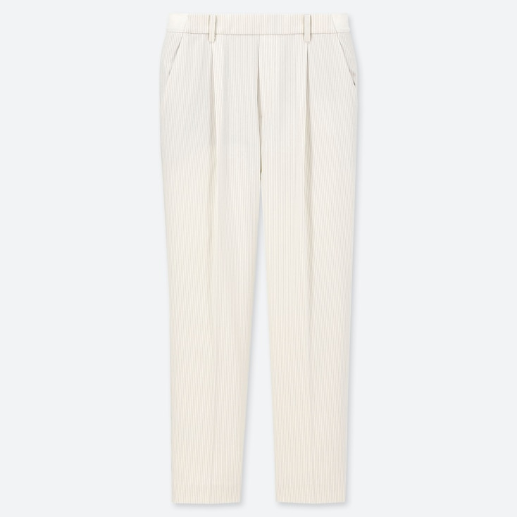 WOMEN EZY TUCKED ANKLE-LENGTH PANTS (STRIPE), OFF WHITE, large