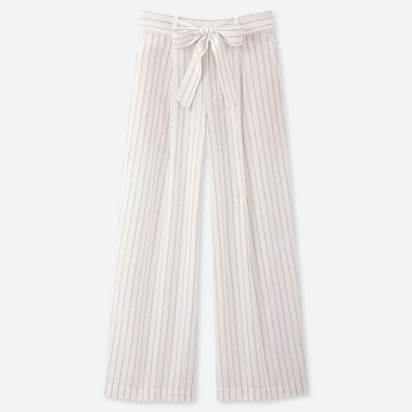WOMEN LINEN COTTON BLEND WIDE LEG BELTED TROUSERS (L28)