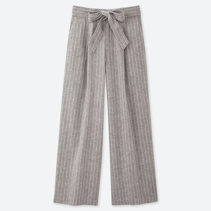 WOMEN BELTED LINEN COTTON WIDE STRAIGHT PANTS, GRAY, large