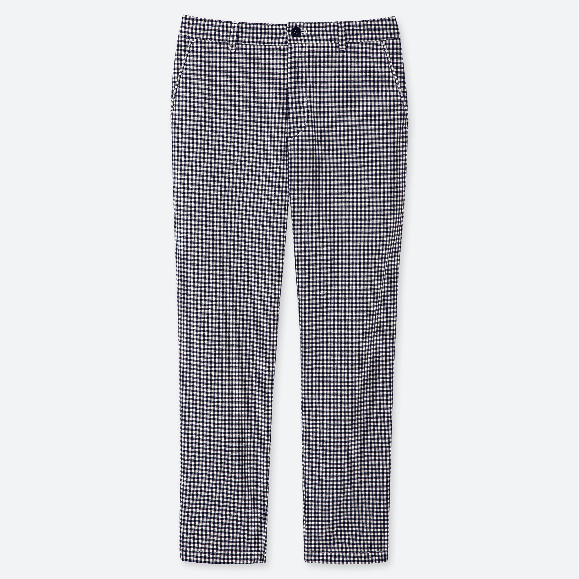 WOMEN LINEN COTTON BLEND TAPERED GINGHAM CHECKED TROUSERS (L28)
