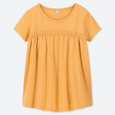 GIRLS GATHERED FRILL CREW NECK SHORT-SLEEVE T-SHIRT, YELLOW, medium