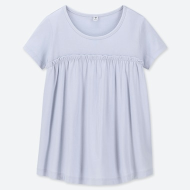 GIRLS GATHERED FRILL CREW NECK SHORT-SLEEVE T-SHIRT, LIGHT BLUE, medium