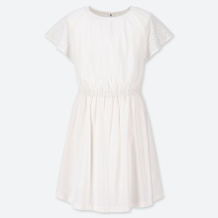 GIRLS LACE SHORT-SLEEVE DRESS, OFF WHITE, large