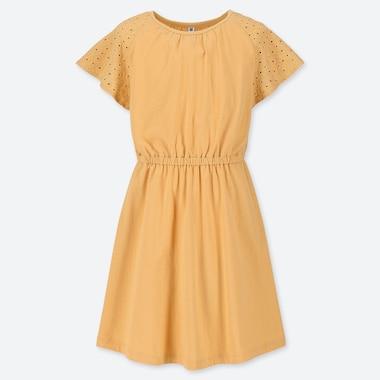 GIRLS LACE SHORT-SLEEVE DRESS, YELLOW, medium