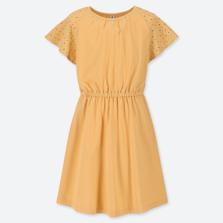 GIRLS LACE SHORT-SLEEVE DRESS, YELLOW, large