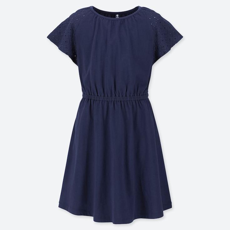 GIRLS LACE SHORT-SLEEVE DRESS, NAVY, large
