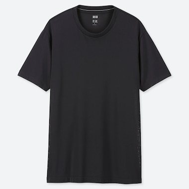MEN DRY-EX CREW NECK SHORT-SLEEVE T-SHIRT, BLACK, medium