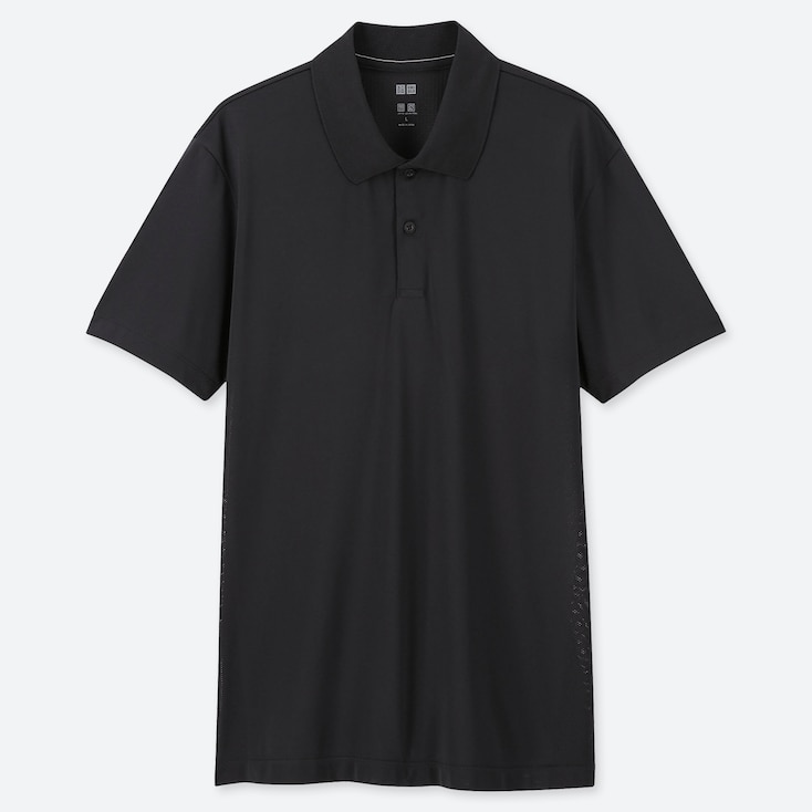 MEN DRY-EX SHORT-SLEEVE POLO SHIRT, BLACK, large