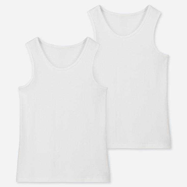 KIDS COTTON INNER TANK TOP (SET OF 2), WHITE, large