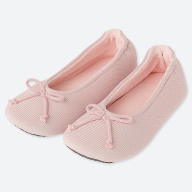 WOMEN FRENCH TERRY BALLET SLIPPERS, PINK, medium