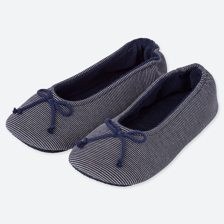 WOMEN FRENCH TERRY BALLET SLIPPERS, NAVY, large