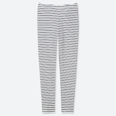 GIRLS STRIPED LEGGINGS, OFF WHITE, medium
