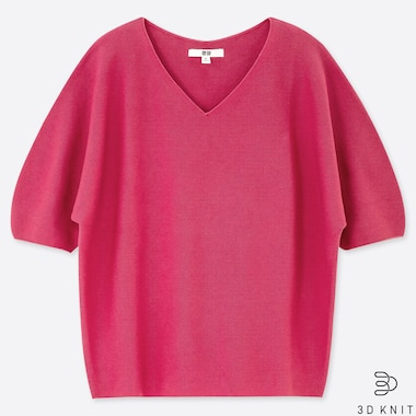 WOMEN 3D COTTON DOLMAN HALF SLEEVE SWEATER, PINK, medium