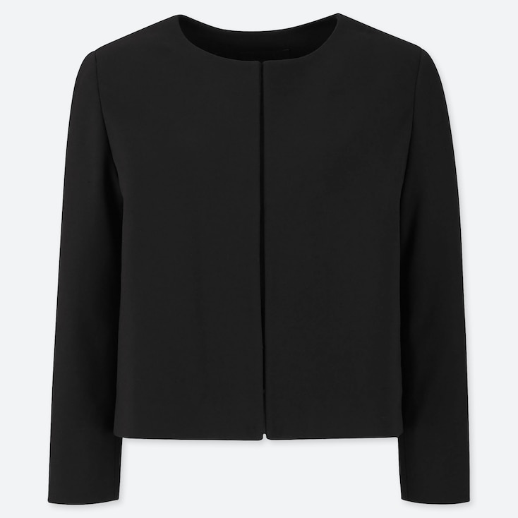 WOMEN PONTE ROUND NECK JACKET (ONLINE EXCLUSIVE), BLACK, large