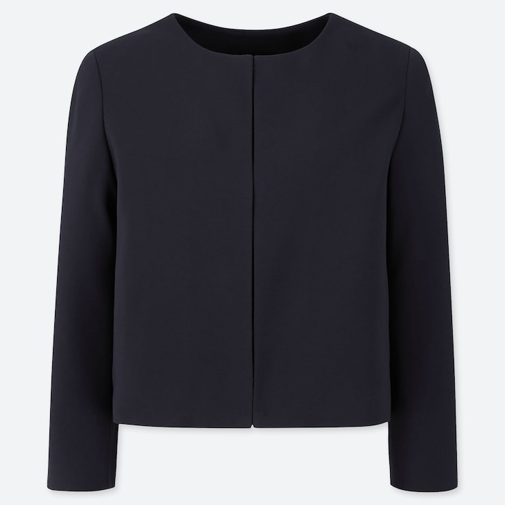 WOMEN PONTE ROUND NECK JACKET (ONLINE EXCLUSIVE), NAVY, large