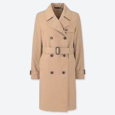 WOMEN DOUBLE BREASTED BELTED TRENCH COAT