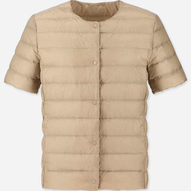 WOMEN ULTRA LIGHT DOWN COMPACT SHORT-SLEEVE JACKET (ONLINE EXCLUSIVE), NATURAL, large