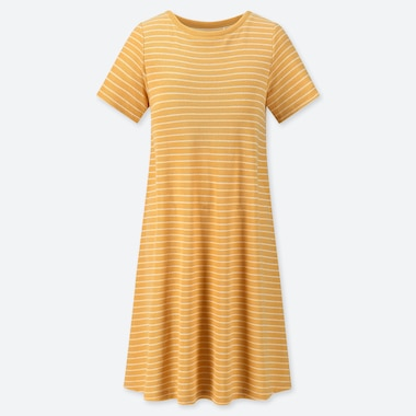 WOMEN AIRISM PADDED PILE STRIPED DRESS