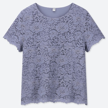 T-SHIRT DONNA IN PIZZO A MANICHE CORTE