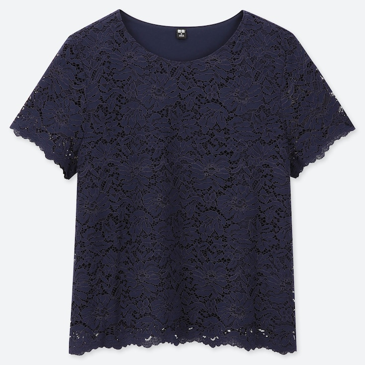 WOMEN LACE SHORT-SLEEVE T-SHIRT, NAVY, large