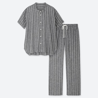 WOMEN COTTON LINEN SHORT-SLEEVE PAJAMAS, GRAY, medium