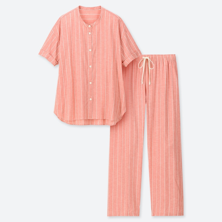 WOMEN COTTON LINEN SHORT-SLEEVE PAJAMAS, PINK, large