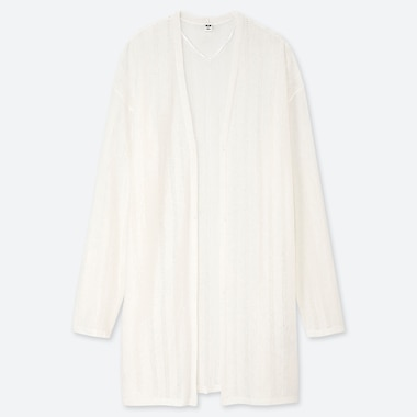 WOMEN LINEN BLENDED POINTELLE LONG CARDIGAN, OFF WHITE, medium