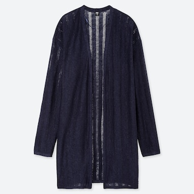 WOMEN LINEN BLENDED POINTELLE LONG CARDIGAN, NAVY, medium
