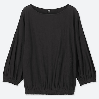 WOMEN CREPE GATHERED HALF SLEEVED T-SHIRT