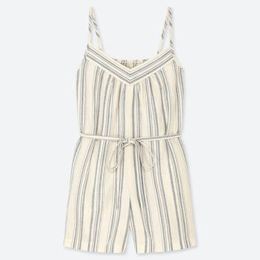 WOMEN LINEN BLEND SLEEVELESS PLAYSUIT