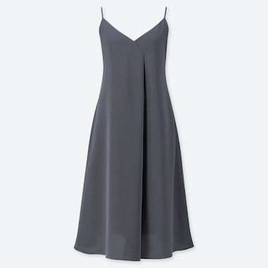 WOMEN DRAPE CAMI DRESS, DARK GRAY, medium