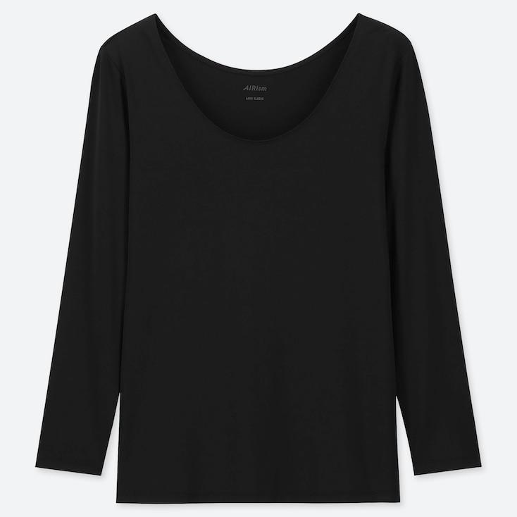 WOMEN AIRism UV CUT SCOOP NECK LONG-SLEEVE T-SHIRT, BLACK, large