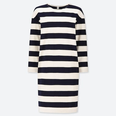 WOMEN WIDE STRIPED LONG SLEEVED DRESS