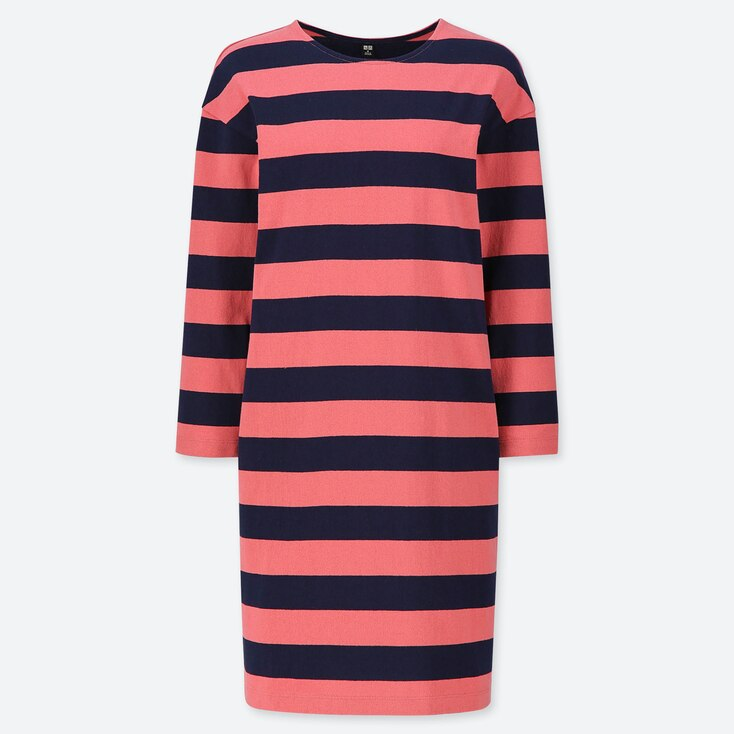 WOMEN WIDE STRIPED LONG-SLEEVE DRESS, RED, large