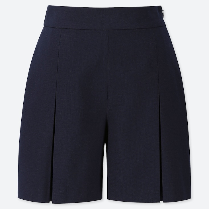 WOMEN TUCKED SHORTS (ONLINE EXCLUSIVE), NAVY, large