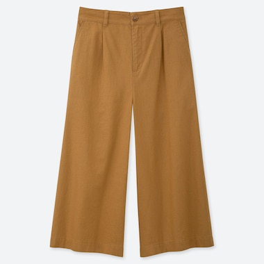 WOMEN LINEN COTTON WIDE CROPPED PANTS, YELLOW, medium