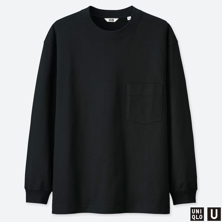 MEN U CREW NECK LONG-SLEEVE T-SHIRT, BLACK, large