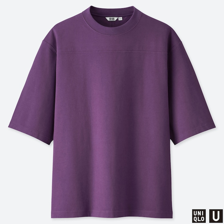 MEN U OVERSIZE CREW NECK HALF-SLEEVE T-SHIRT, PURPLE, large