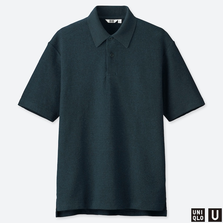 MEN U WASHED SHORT-SLEEVE POLO SHIRT, NAVY, large