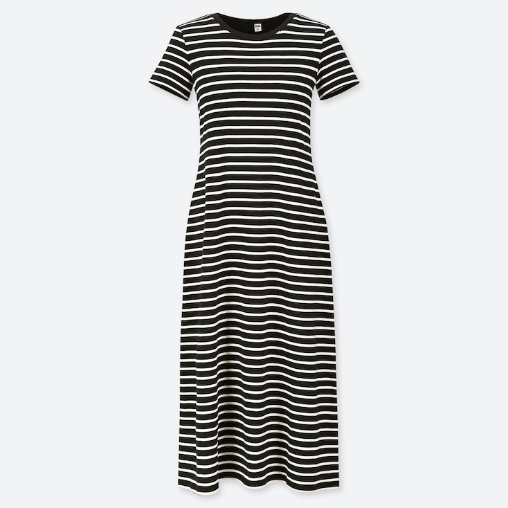 WOMEN STRIPED SHORT-SLEEVE LONG BRA DRESS, BLACK, large