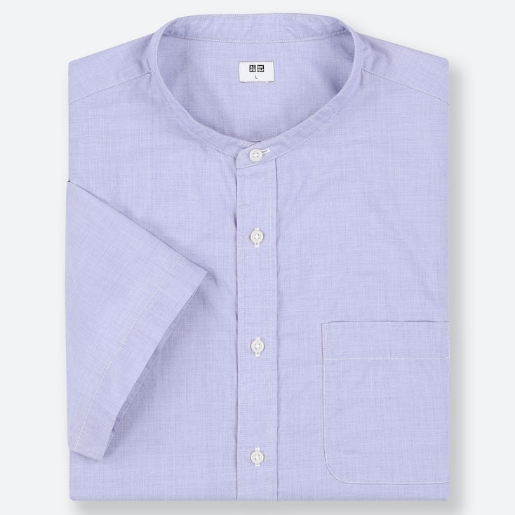MEN EXTRA FINE COTTON BROADCLOTH REGULAR FIT SHORT SLEEVED SHIRT (STAND COLLAR)