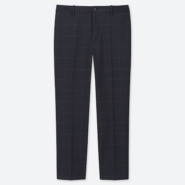 MEN EZY WINDOWPANE ANKLE-LENGTH PANTS, NAVY, medium