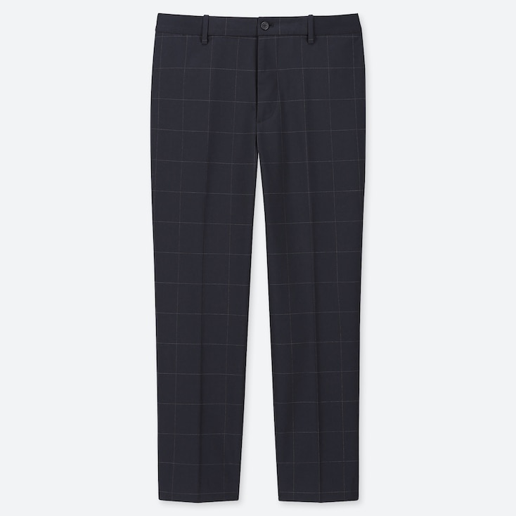 MEN EZY WINDOWPANE ANKLE-LENGTH PANTS, NAVY, large