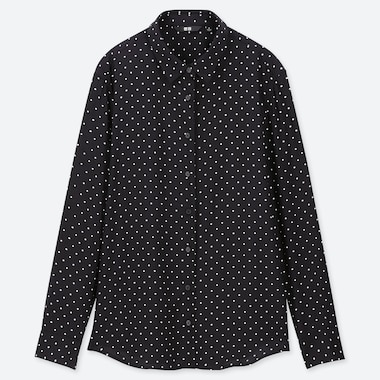 WOMEN RAYON DOTTED LONG SLEEVED BLOUSE