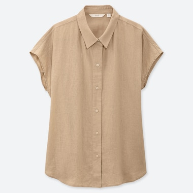 WOMEN LINEN BLEND SHORT SLEEVED BLOUSE