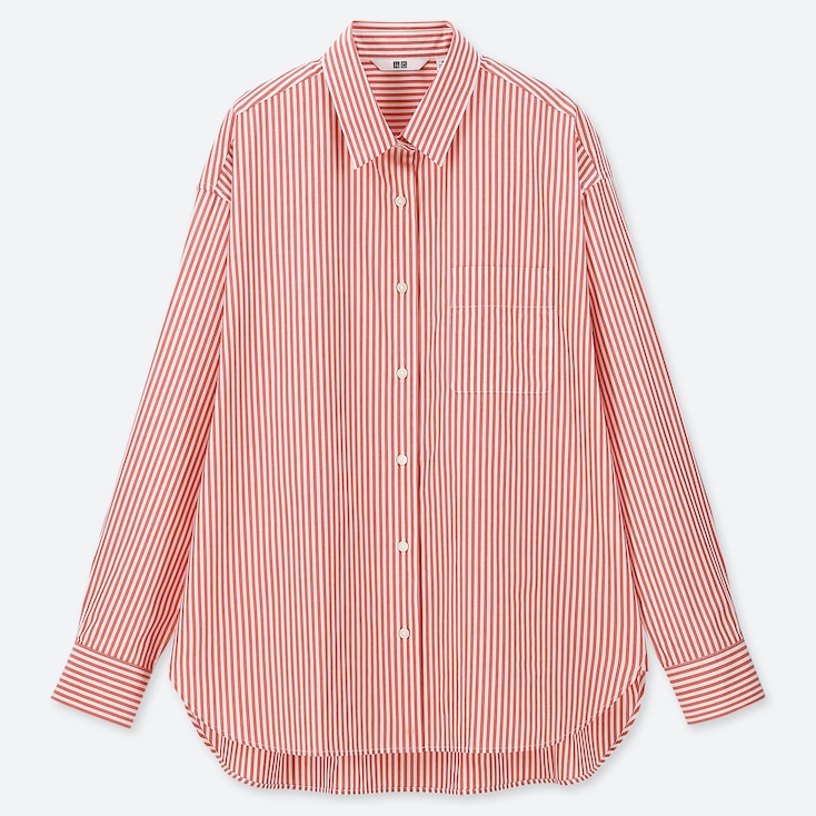 WOMEN EXTRA FINE COTTON STRIPED LONG-SLEEVE SHIRT, RED, large
